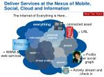 deliver services at the nexus of mobile social cloud and information