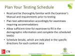 plan your testing schedule