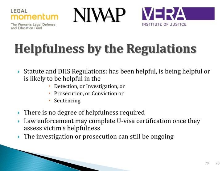 Helpfulness by the Regulations