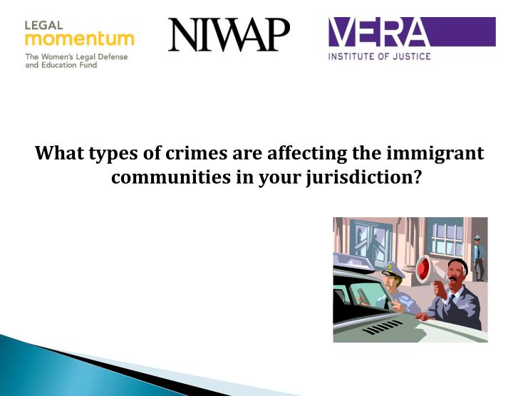 What types of crimes are affecting the immigrant communities in your jurisdiction?