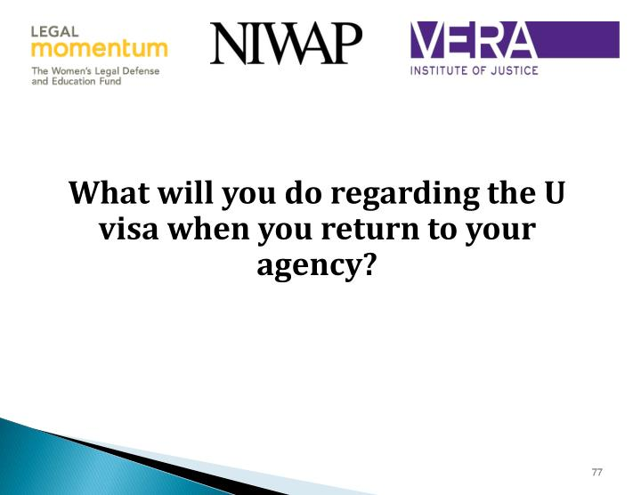 What will you do regarding the U visa when you return to your agency?