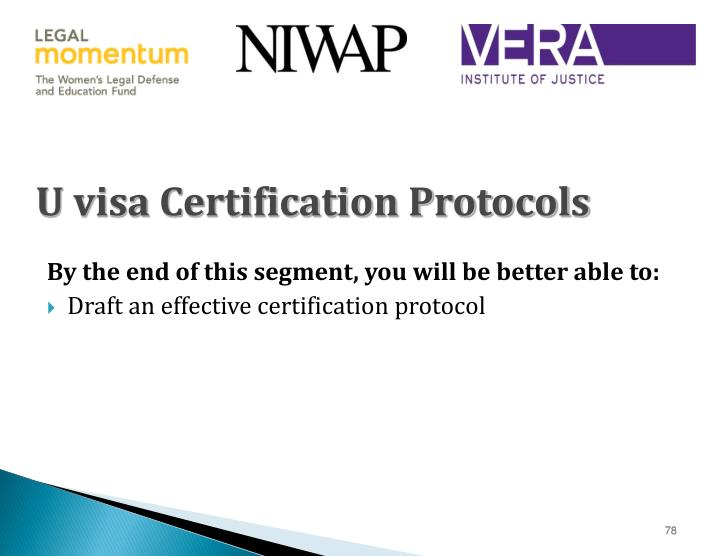 U visa Certification Protocols