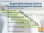 acquiring developing systems the system development lifecycle
