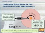 the rotating platter moves the data under the positioned read write head