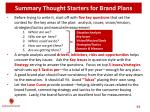 summary thought starters fo r brand plans
