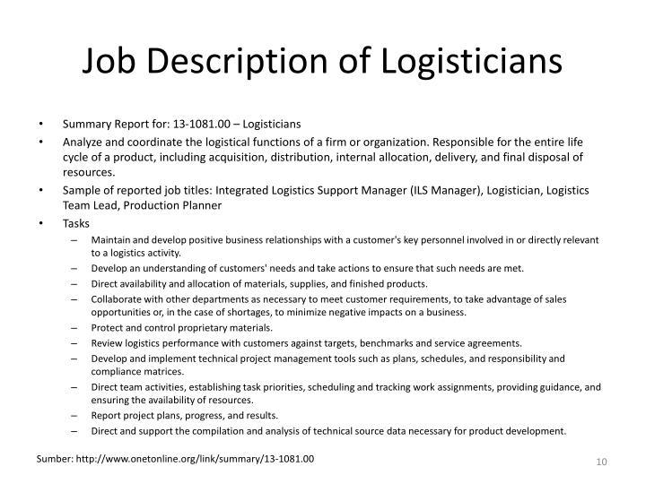 Job Description of Logisticians