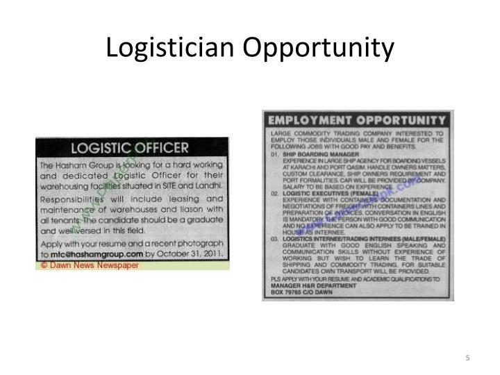 Logistician Opportunity