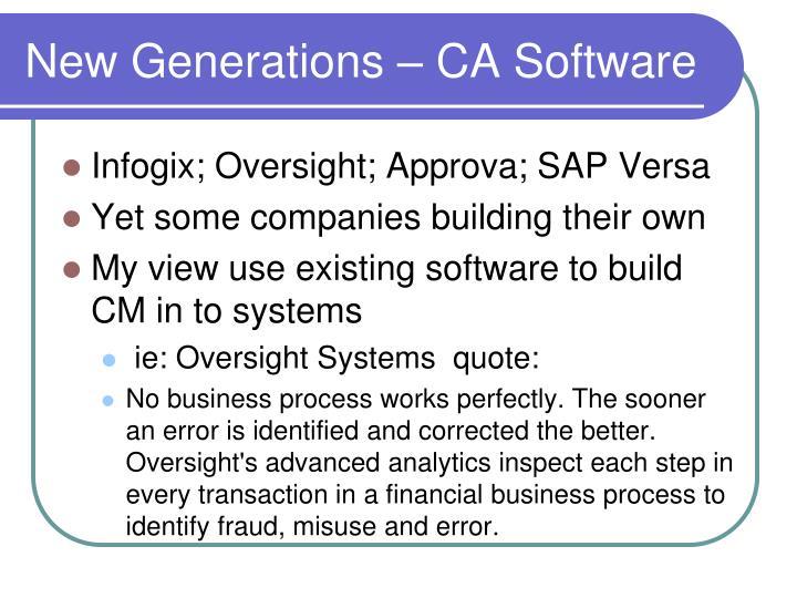 New Generations – CA Software