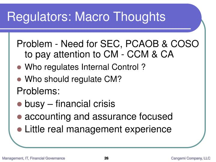 Regulators: Macro Thoughts