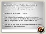 is bbc s the voice just a big advert mp questions show s promotion of record label