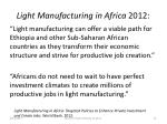light manufacturing in africa 2012