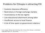 problems for ethiopia in attracting fdi