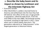 a describe the baby boom and its impact as shown by levittown and the interstate highway act
