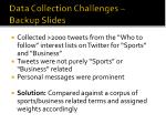 data collection challenges backup slides