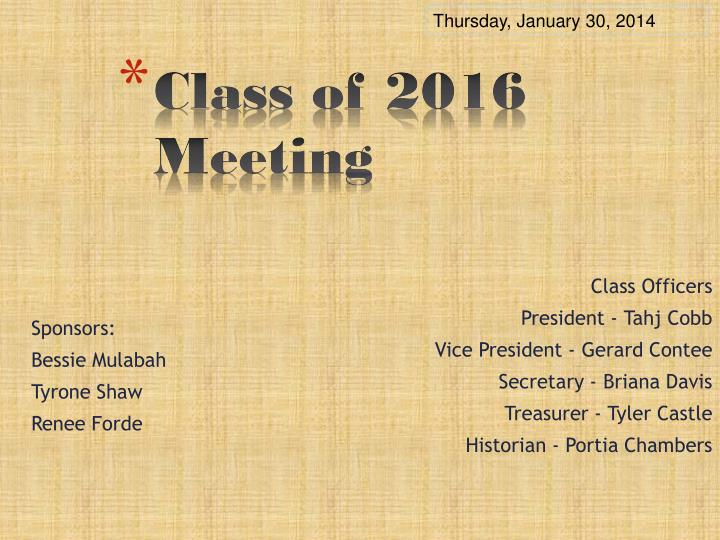 class of 2016 meeting n.