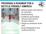 providing a roadmap for a bicycle friendly america