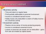 business versus investment