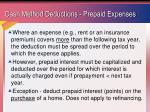 cash method deductions prepaid expenses