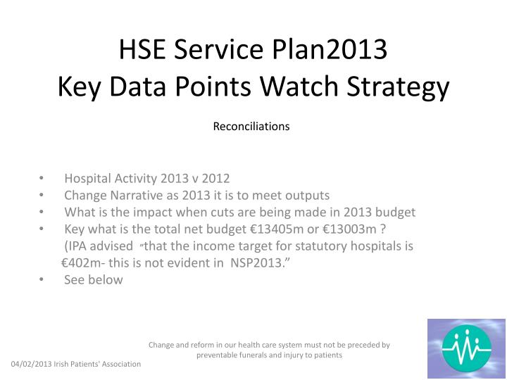 hse service plan2013 key data points watch strategy n.