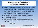 lessons learnt from vmmc implementation kenya