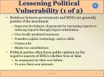 lessening political vulnerability 1 of 2