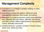 management complexity