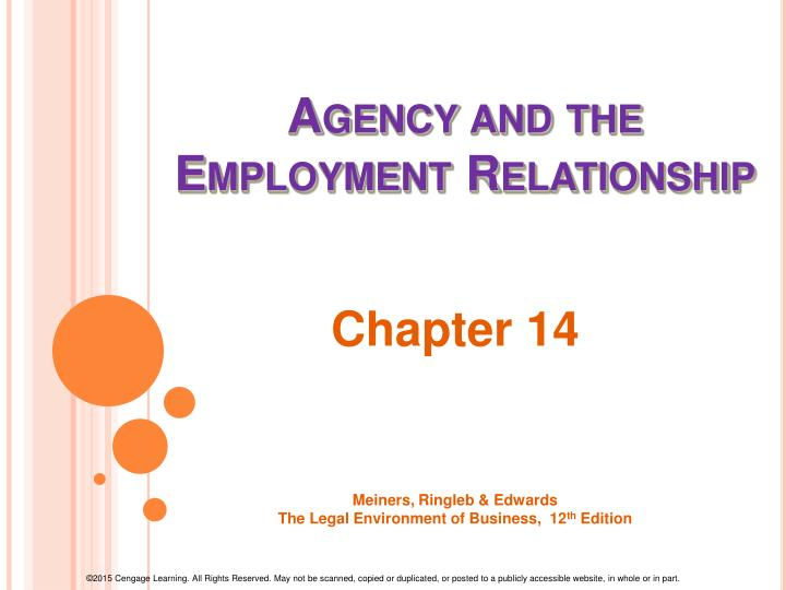 agency and the employment relationship n.