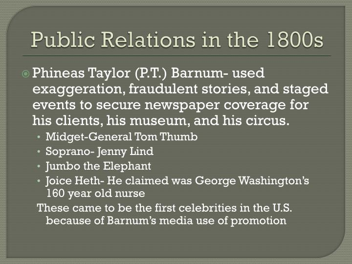 Public Relations in the 1800s