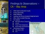 findings observations ca bay area