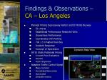 findings observations ca los angeles