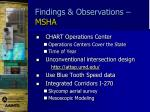 findings observations msha