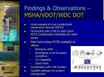 findings observations msha vdot wdc dot