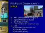 findings observations msha1