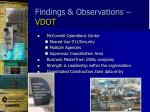 findings observations vdot