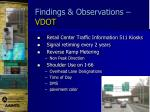 findings observations vdot1