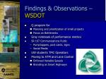 findings observations wsdot