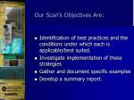 our scan s objectives are