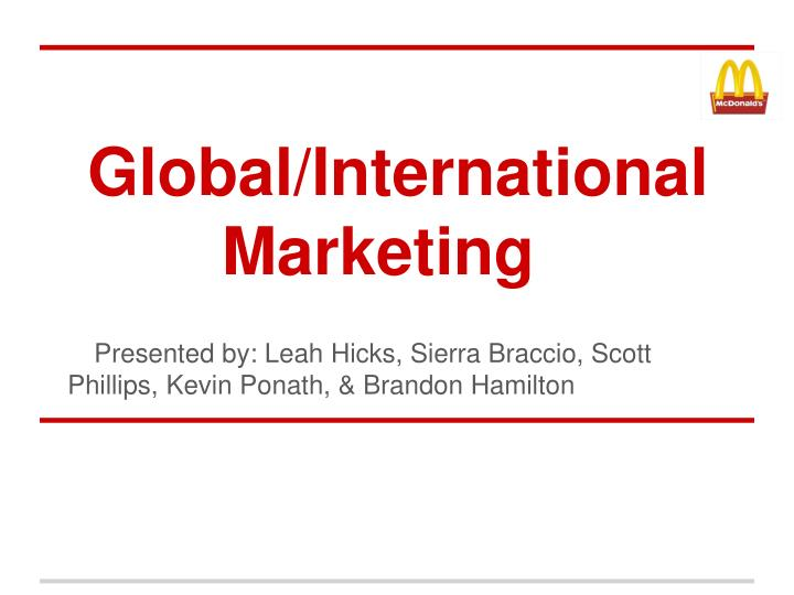 global international marketing n.