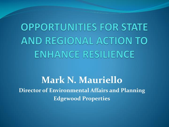 opportunities for state and regional action to enhance resilience n.