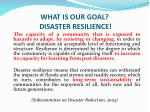 what is our goal disaster resilience