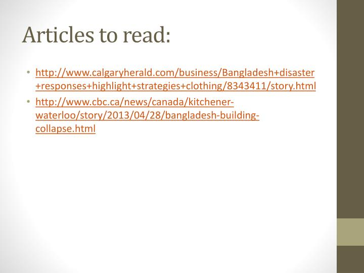 Articles to read: