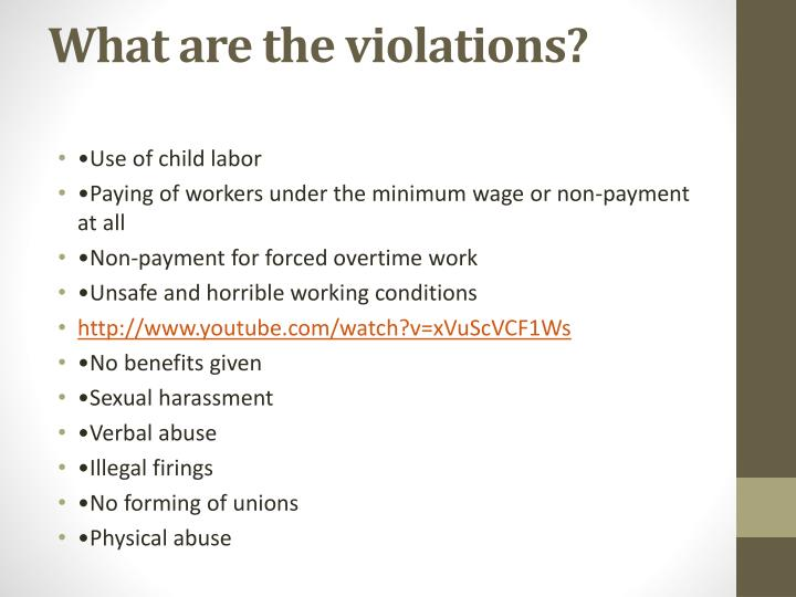 What are the violations?