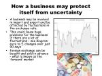 how a business may protect itself from uncertainty