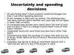 uncertainty and spending decisions