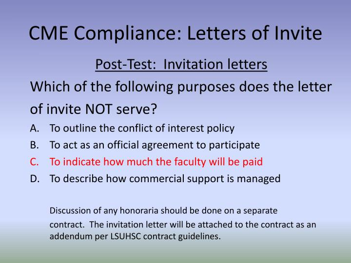 PPT CME Compliance Letters of Invite PowerPoint Presentation ID