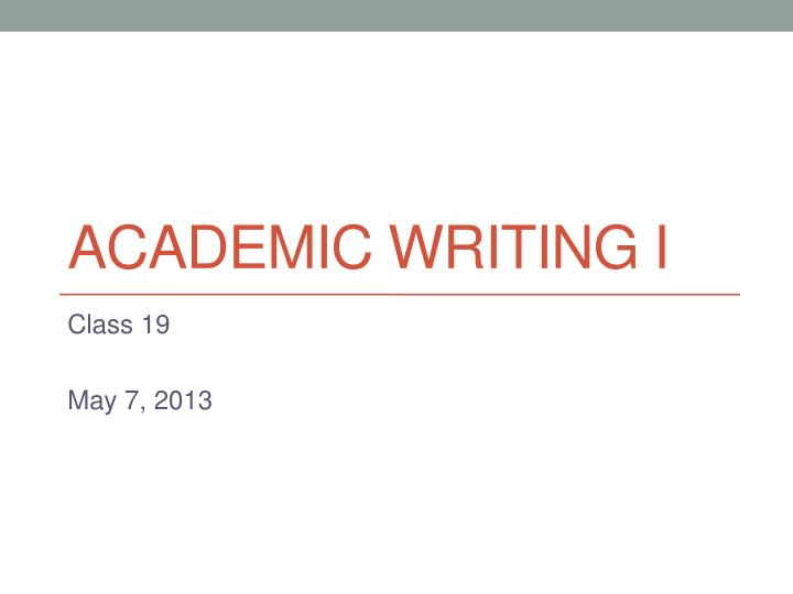 academic writing i n.