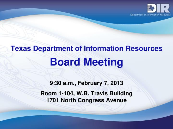 texas department of information resources board meeting n.