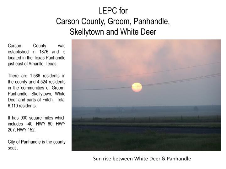 lepc for carson county groom panhandle skellytown and white deer n.