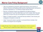 warrior care policy background