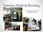 summer math reading